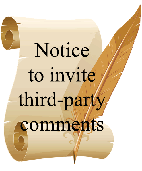 Notice to invite third-party comments